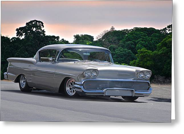 Slam Greeting Cards - 1958 Chevrolet Impala Two Door Hardtop Greeting Card by Dave Koontz