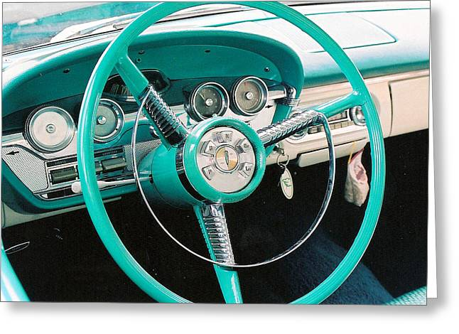 Speedometer Greeting Cards - 1958 Edsel Pacer Dash Greeting Card by Lauri Novak