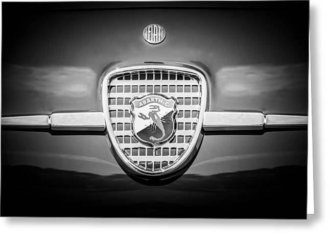 Classic Fiat Greeting Cards - 1958 Fiat Abarth-Zagato Grille Emblem -1632bw Greeting Card by Jill Reger