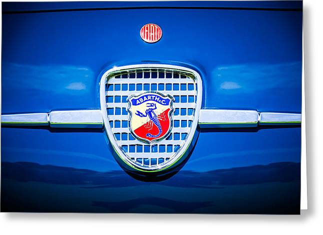 Classic Fiat Greeting Cards - 1958 Fiat Abarth-Zagato Grille Emblem -1632c Greeting Card by Jill Reger