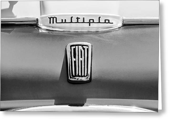 Classic Fiat Greeting Cards - 1958 Fiat Multipla Hood Emblems -1651bw Greeting Card by Jill Reger