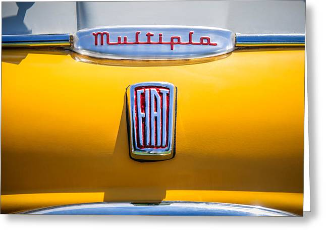 Classic Fiat Greeting Cards - 1958 Fiat Multipla Hood Emblems -1651c Greeting Card by Jill Reger