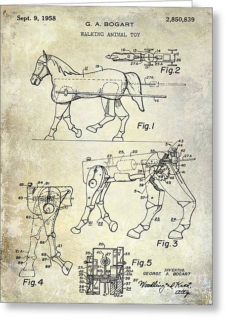 Horse Drawings Greeting Cards - 1958 Horse Toy Patent Greeting Card by Jon Neidert