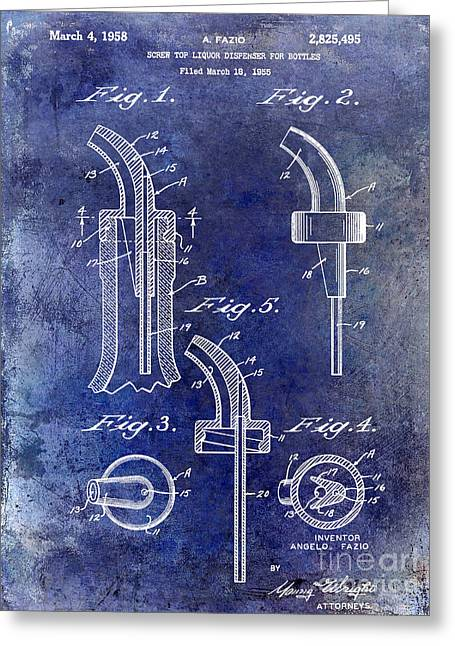 Mixed Drink Greeting Cards - 1958 Liquor Bottle Pour Patent Blue Greeting Card by Jon Neidert