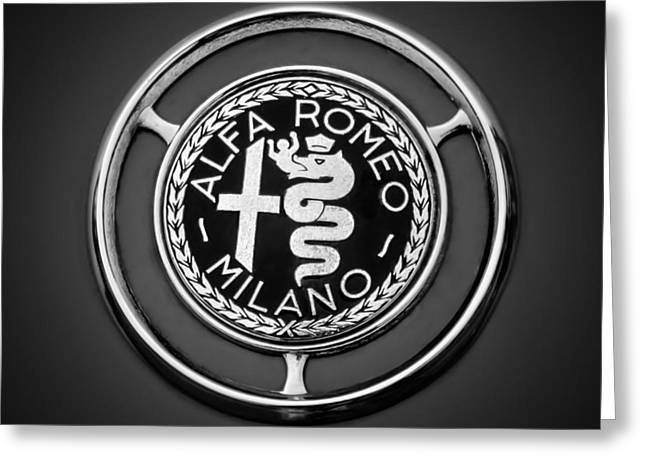Famous Photographer Greeting Cards - 1959 Alfa Romeo Giulietta Sprint Emblem -0128bw3 Greeting Card by Jill Reger