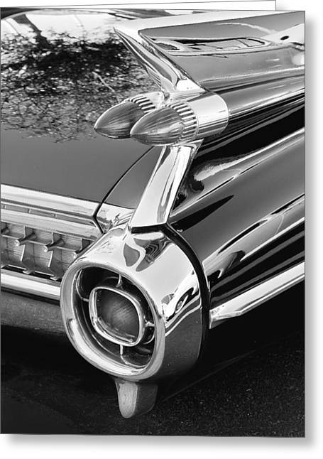 Caddy Greeting Cards - 1959 Black and White Caddy Greeting Card by Rich Franco