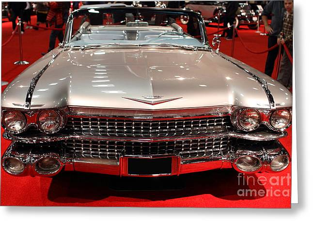 Domestic Cars Greeting Cards - 1959 Cadillac Convertible . Front View Greeting Card by Wingsdomain Art and Photography