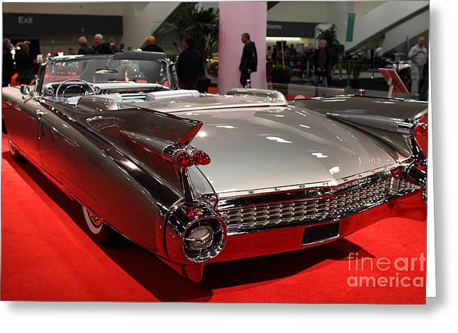 Domestic Cars Greeting Cards - 1959 Cadillac Convertible . Rear Angle Greeting Card by Wingsdomain Art and Photography