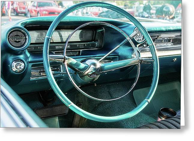 1959 Cadillac Sedan Deville Series 62 Dashboard Greeting Card by Jon Woodhams