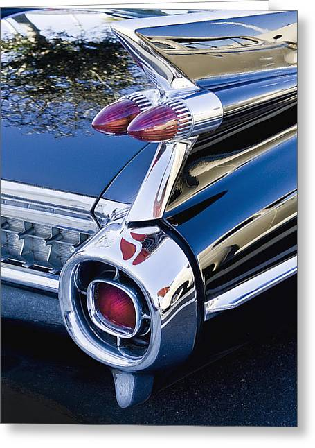 Caddy Greeting Cards - 1959 Cadillac Vertical Greeting Card by Rich Franco