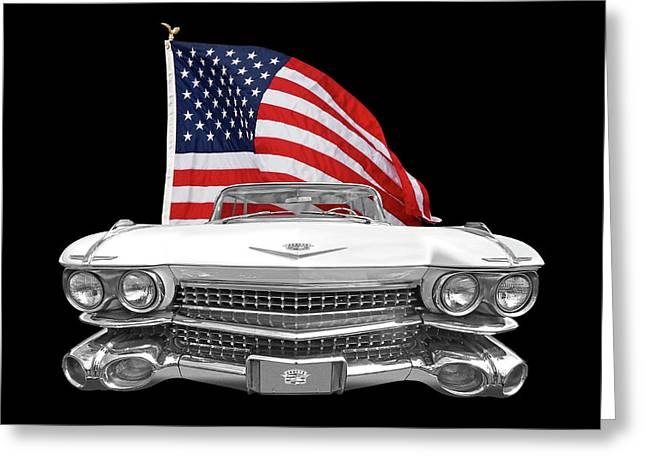 1959 Cadillac With Us Flag Greeting Card by Gill Billington