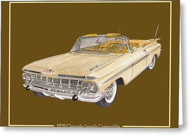 Repeat Drawings Greeting Cards - 1959 Chevrolet Impala Convertible Greeting Card by Jack Pumphrey