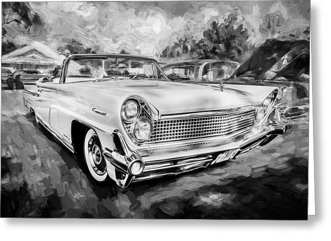 Concord Greeting Cards - 1959 Lincoln Continental Town Car MK IV Painted BW Greeting Card by Rich Franco