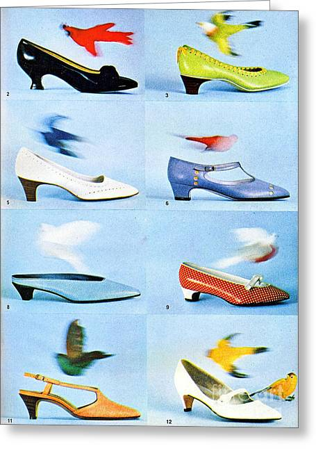 Straps Greeting Cards - 1960 70 Ladies Shoes Advertisement 2 Greeting Card by R Muirhead Art