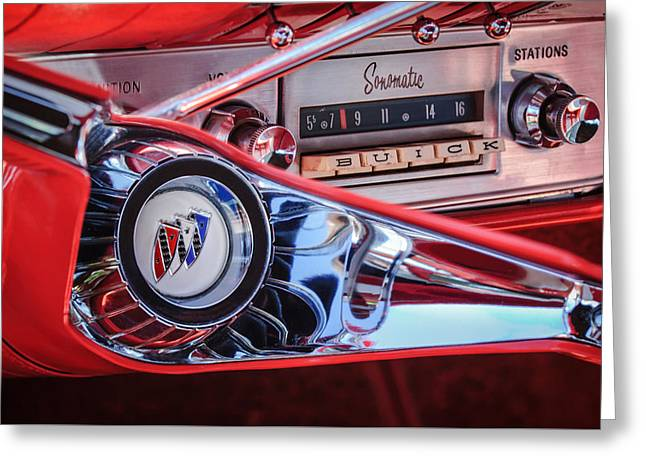 Radio Print Greeting Cards - 1960 Buick LeSabre Convertible Steering Wheel - Radio -3028c Greeting Card by Jill Reger