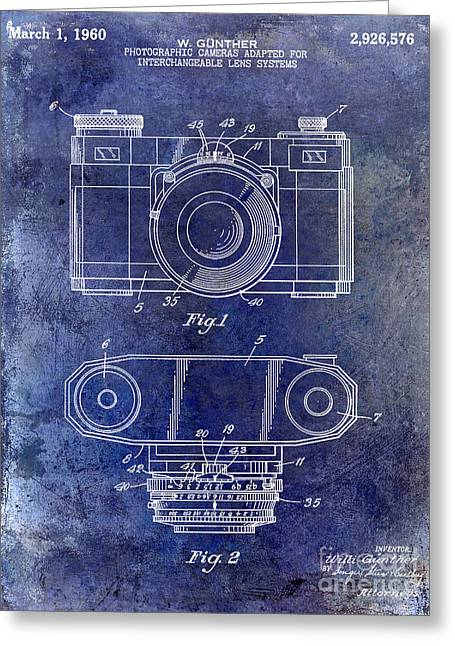 1960 Greeting Cards - 1960 Camera Patent Blue Greeting Card by Jon Neidert