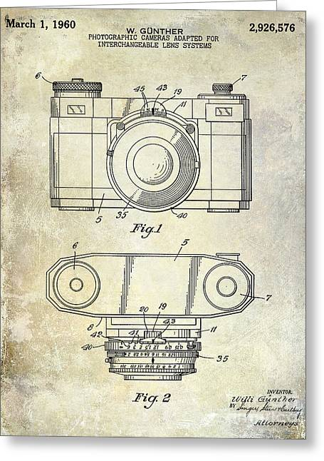 35mm Photographs Greeting Cards - 1960 Camera Patent Greeting Card by Jon Neidert