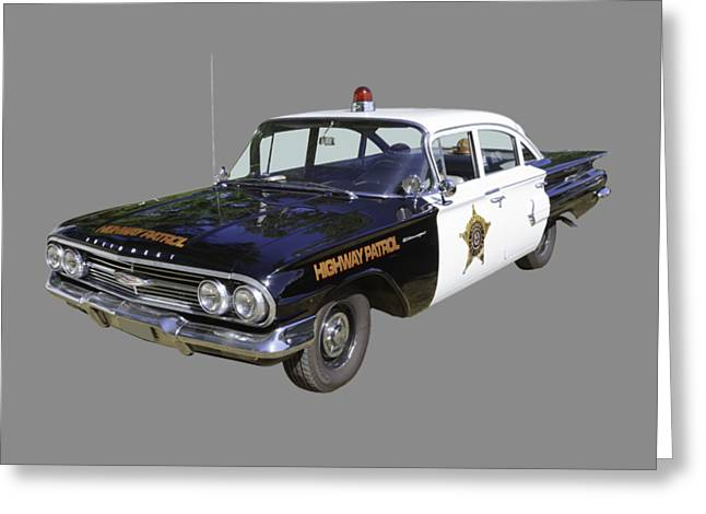 1960 Chevrolet Biscayne Police Car Greeting Card by Keith Webber Jr