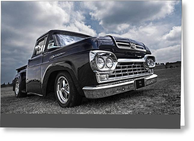 Monochrome Hot Rod Greeting Cards - 1960 Ford F100 Truck Greeting Card by Gill Billington