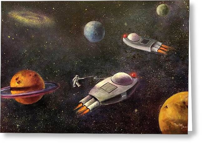 Outer Space Paintings Greeting Cards - 1960s Outer Space Adventure Greeting Card by Randy Burns