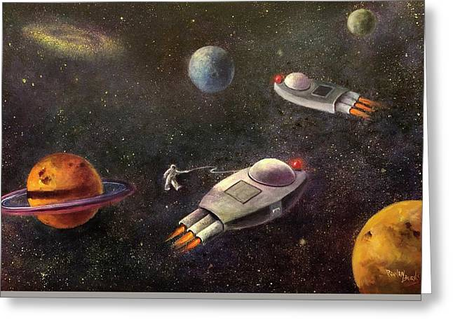 1960s Outer Space Adventure Greeting Card by Randy Burns aka Wiles Henly