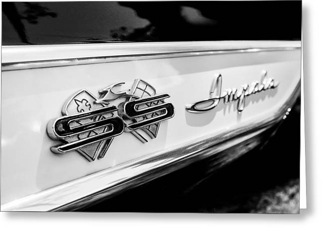 1961 Chevrolet Bel Air Impala Ss Bubble Top Side Emblem -0242bw Greeting Card by Jill Reger