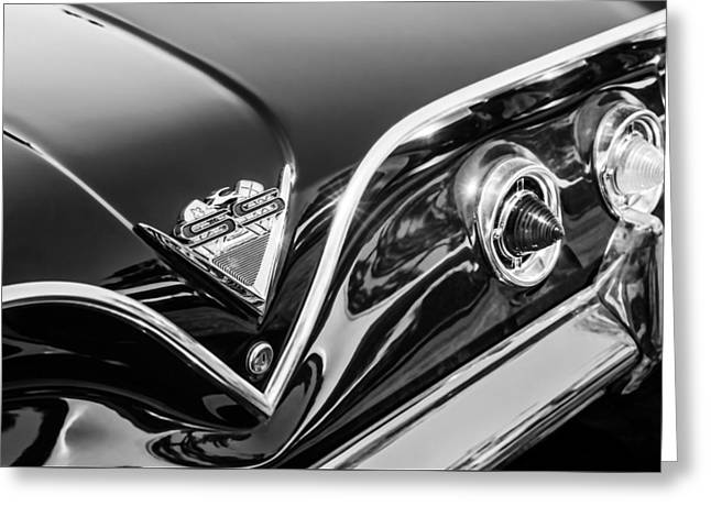 1961 Chevrolet Bel Air Impala Ss Bubble Top Tail Light Emblem -0249bw Greeting Card by Jill Reger
