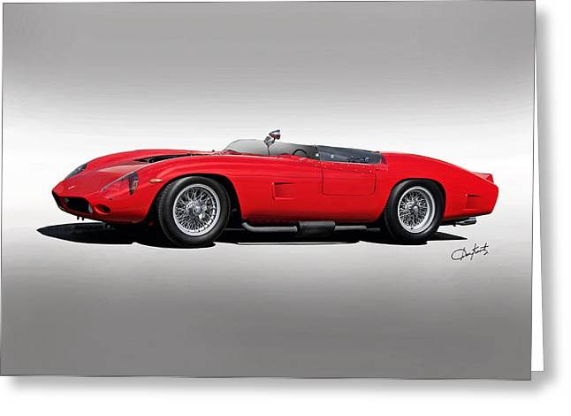 Rally Greeting Cards - 1961 Ferrari TR61 Corsa Rosso Greeting Card by Dave Koontz
