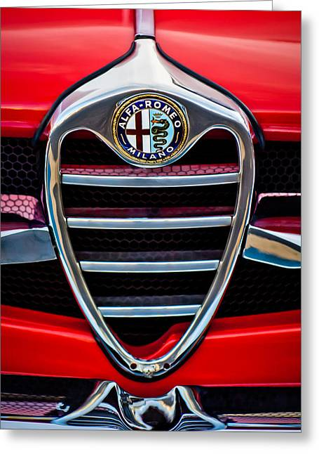 Famous Photographers Greeting Cards - 1962 Alfa Romeo Giulietta Coupe Sprint Speciale Grille Emblem -0007c Greeting Card by Jill Reger