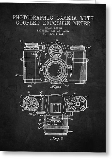 Famous Photographers Greeting Cards - 1962 Camera Patent - Charcoal - NB Greeting Card by Aged Pixel