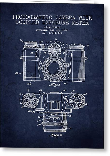Camera Greeting Cards - 1962 Camera Patent - Navy Blue - NB Greeting Card by Aged Pixel
