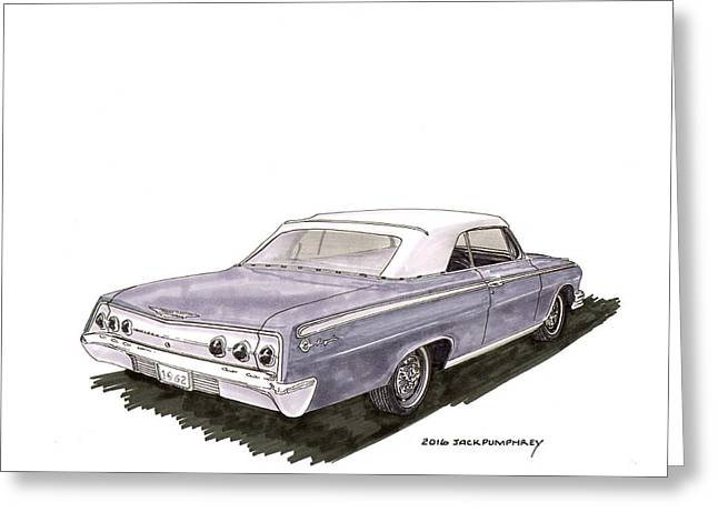 Art Of Muscle Greeting Cards - 1962 Chevrolet Impala S S 392 Convertible Greeting Card by Jack Pumphrey