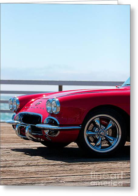 Wood Pier Framed Prints Greeting Cards - 1962 Corvette Convertible on the pier Greeting Card by Brooke Roby