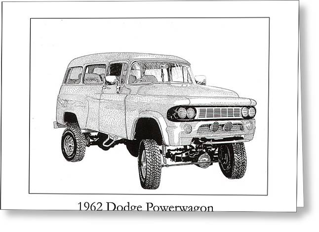 Pen And Ink Drawing Greeting Cards - 1962 Dodge Powerwagon Greeting Card by Jack Pumphrey
