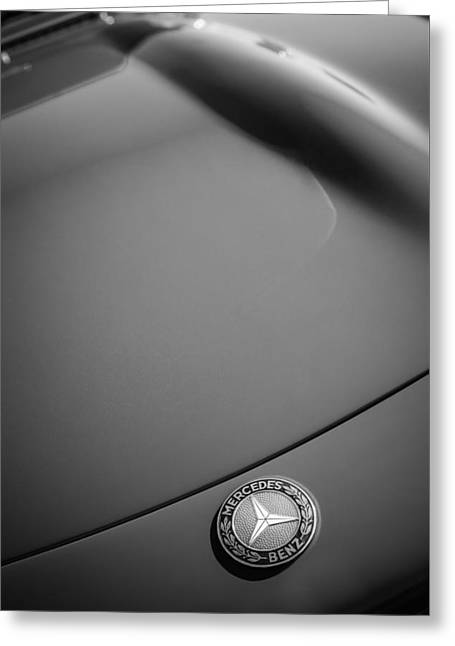 1962 Mercedes-benz 300sl Roadster Emblem -0384bw Greeting Card by Jill Reger