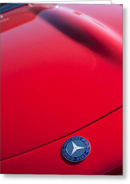 Famous Photographer Greeting Cards - 1962 Mercedes-Benz 300SL Roadster Emblem -0384c Greeting Card by Jill Reger