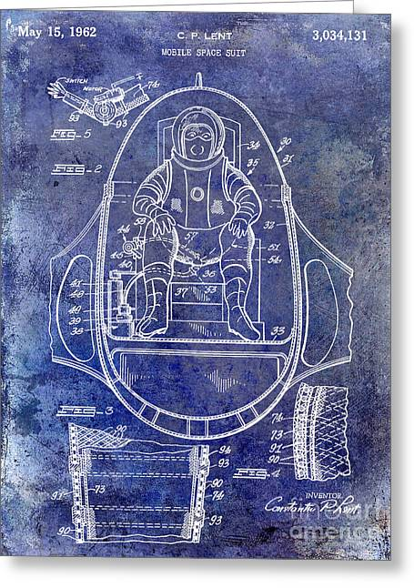 Nasa Space Shuttle Greeting Cards - 1962 Mobile Space Suit Patent Blue Greeting Card by Jon Neidert