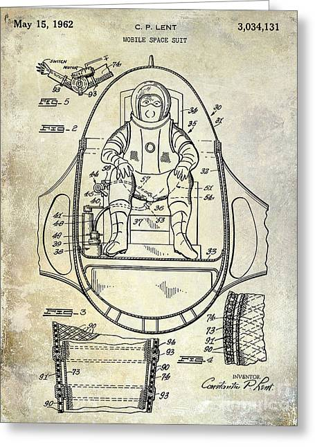 Nasa Space Shuttle Greeting Cards - 1962 Space Suit Patent Greeting Card by Jon Neidert