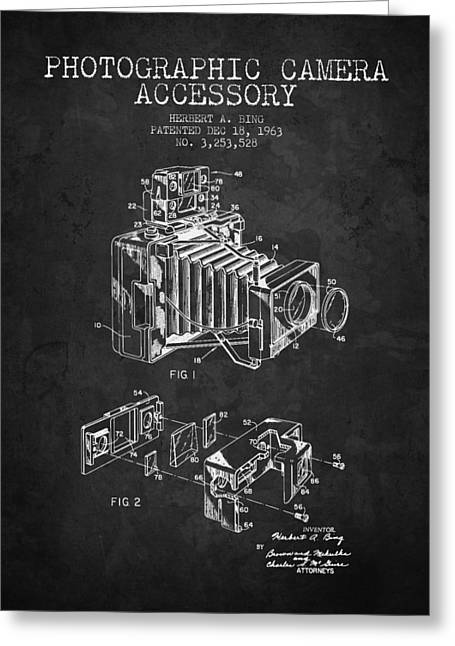 Camera Greeting Cards - 1963 Camera Patent - Charcoal - NB Greeting Card by Aged Pixel
