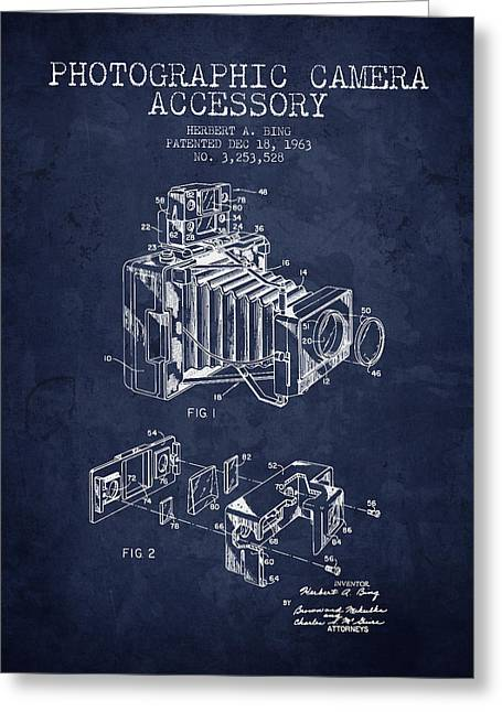 Technical Drawings Greeting Cards - 1963 Camera Patent - Navy Blue - NB Greeting Card by Aged Pixel