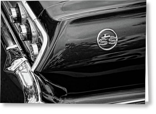 Side Panel Greeting Cards - 1963 Chevrolet Impala SS Black and White Greeting Card by Gordon Dean II