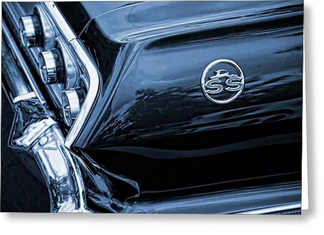Dad Eyes Greeting Cards - 1963 Chevy Impala Blue Greeting Card by Gordon Dean II