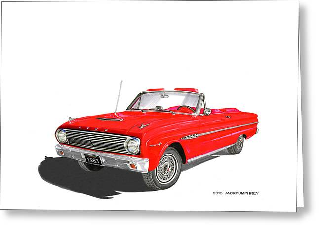 1963 Ford Sprint Greeting Cards - 1963 Ford Falcon Sprint V 8 Greeting Card by Jack Pumphrey