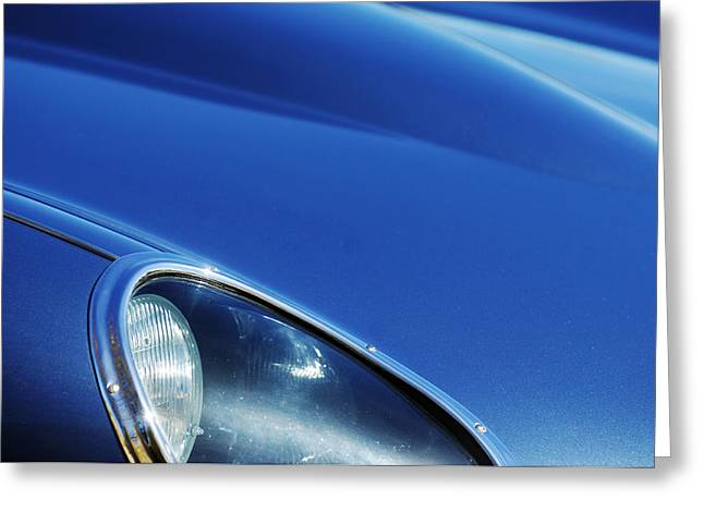 Blue Classic Car Greeting Cards - 1963 Jaguar XKE Roadster Headlight Greeting Card by Jill Reger