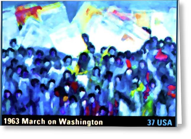 Discrimination Paintings Greeting Cards - 1963 March on Washington Greeting Card by Lanjee Chee