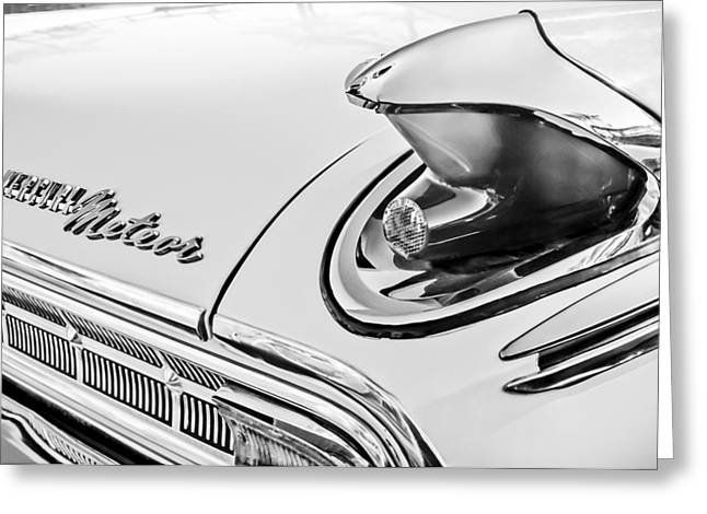 Meteor Greeting Cards - 1963 Mercury Meteor Taillight Emblem -0070bw Greeting Card by Jill Reger