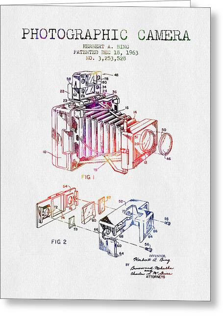 Camera Greeting Cards - 1963 Photographic Camera Patent - Color Greeting Card by Aged Pixel