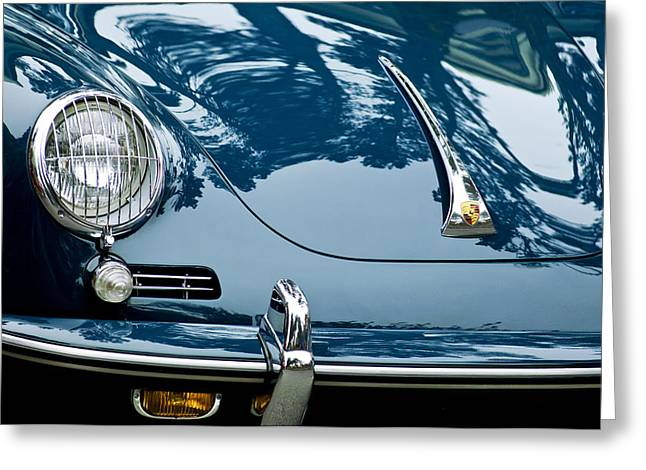 Famous Photographers Greeting Cards - 1963 Porsche 356 B Cabriolet Hood Emblem Greeting Card by Jill Reger