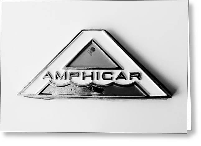 Car Emblems Greeting Cards - 1964 Amphicar Model 770 Emblem -0411bw Greeting Card by Jill Reger