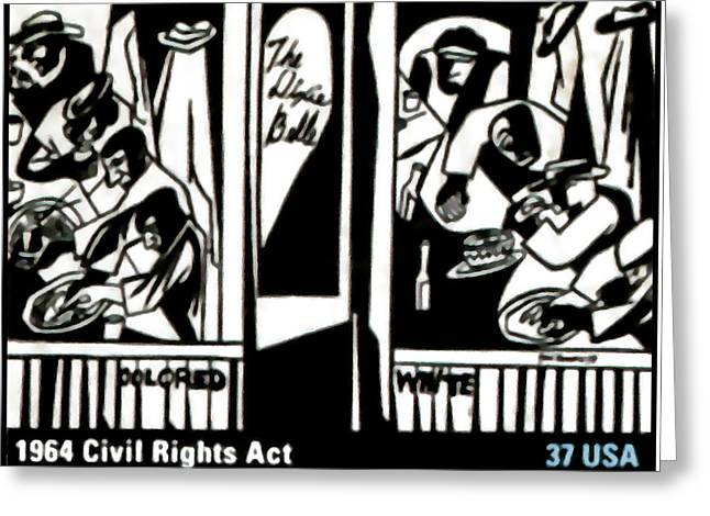 Discrimination Paintings Greeting Cards - 1964 Civil Rights Act Greeting Card by Lanjee Chee